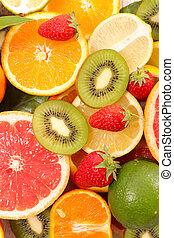 fruits, variado, vista, cima