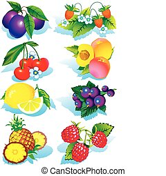 Fruits. - Various juicy fruits on a white background. ...
