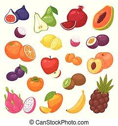 Fruits vector fruity apple banana and exotic papaya with...