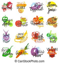 Fruits vector fruity eco food apple banana vegetable tomato...