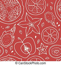 fruits., vector, seamless, achtergrond