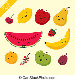 Fruits. Vector set of fruits