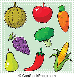 Image of nature products, fruits and vegetables. EPS8 vector file.