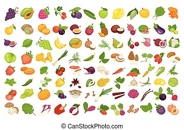 Fruits, vegetables, berries and spices or mushrooms vector isolated icons set
