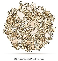 Fruits, vegetables, berries doodle. Healthy food background. Autumn pattern.