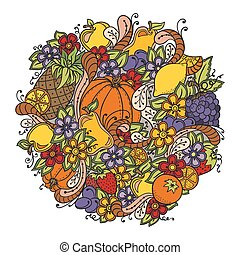 Fruits, vegetables, berries doodle. Healthy food background. Autumn pattern with pumpkin, orange, apple, pear, cherry, strawberry, lemon, pineapple, grapes, plums and flowers.