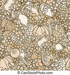 Fruits, vegetables, berries doodle. Healthy food background. Autumn seamless pattern with pumpkin, orange, apple, pear, cherry, strawberry, lemon, pineapple, grapes, plums and flowers.