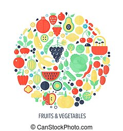 Fruits vegetables flat infographics icons in circle - color concept illustration for vegetable cover, emblem, template.