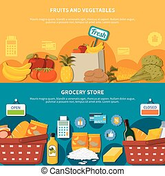Fruits Vegetables Grocery Supermarket Banners