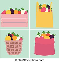 Fruits Vegetables Market Container Illustration