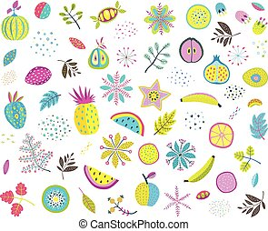 Fruits vegetables mix clip art colorful collection
