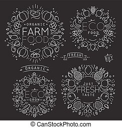 Fruits Vegetables Monogram Black