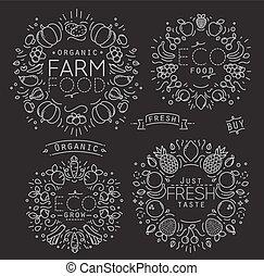 Fruits Vegetables Monogram Black