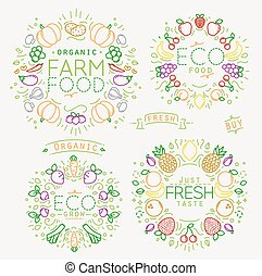 Fruits Vegetables Monograms Color