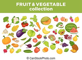 Fruits, vegetables or berries collection isolated flat...