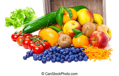 Fruits, vegetables, tipped out