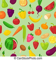 Fruits vegetables vector healthy nutrition of fruity apple banana and vegetably carrot for vegetarians eating organic food from grocery illustration vegetated set diet isolated on background