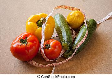 fruits, vegetales, pérdida de peso, y, salud, care.