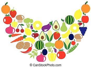 fruits veggies smile - vector veggies fruits smile