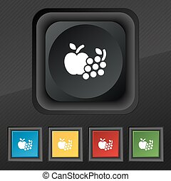 Fruits web icons symbol. Set of five colorful, stylish buttons on black texture for your design. Vector