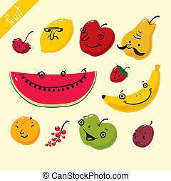 fruits., wektor, komplet, od, owoce