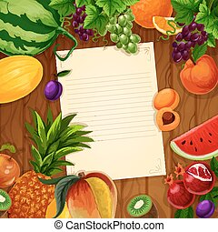 Fruits with blank paper on wooden background