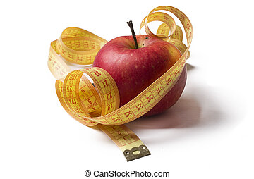 Fruits with measuring tape isolated
