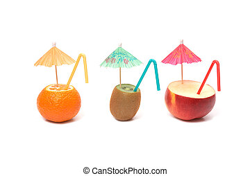 fruits with umbrellas