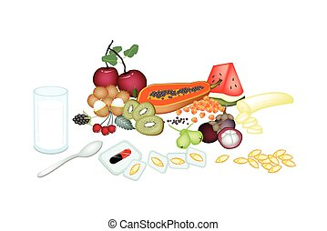 Fruits with Vitamine Capsules on White Background - Medical ...