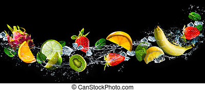 Fruits with water splash
