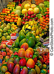 Fruits. World famous Barcelona market, Spain. Selective focus.