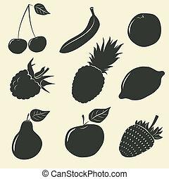 fruits, y, bayas, iconos, -, vector, ilustración