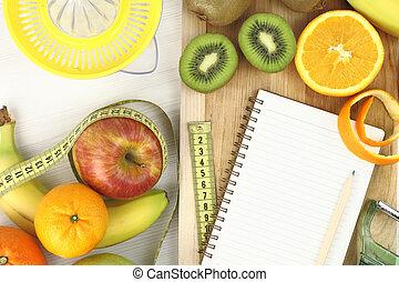 fruits, y, dieta