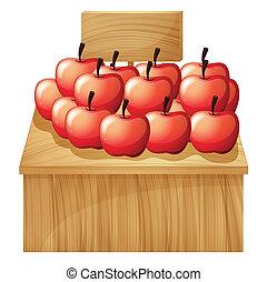 fruitstand, maçã, vazio, signage