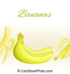 Fruity border seamless background three bananas vector illustration