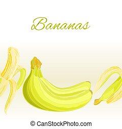 Fruity border seamless background three bananas vector illustration.eps