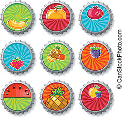 Fruity bottle caps - vector set - Colorful fruity set of...