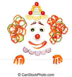 A creative food concept of a sad drama clown made of vegetables and fruits in a menu.