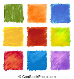 Fruity colored paint square backgro - A set of multicolor...