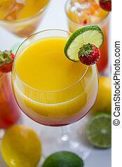 fruity, coquetéis, e, longo, bebidas