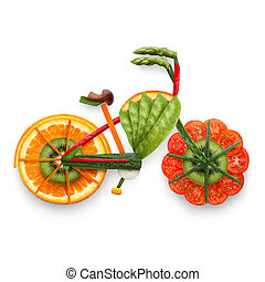 Fruity e-bike. - Healthy food concept of an electric bicycle...