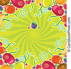 Fruity frame (fruits series) - Different types of delicious...