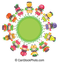 Cute girls in colorful dresses and funny hats with juicy fruits on them dancing on green planet - watermelon, cherry, apple, tangerine, lemon, raspberry, strawberry, blackberry, banana, pineapple, pear, pomegranate.
