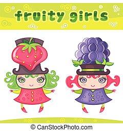 Fruity girls series 4: strawberry, blackberry.