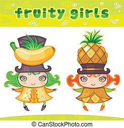 Fruity girls series 6: banana, pineapple.