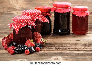 Fruity jam - Different jars full of fruity jam