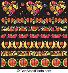 Vector fruitty pattern set on black background.
