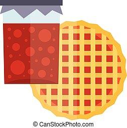 Fruity natural jar of jam and fruit pie cartoon flat.