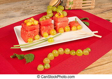Fruity train - Fruity watermelon train, a creative dessert...