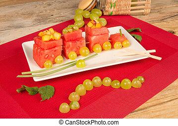 Fruity watermelon train, a creative dessert for kids